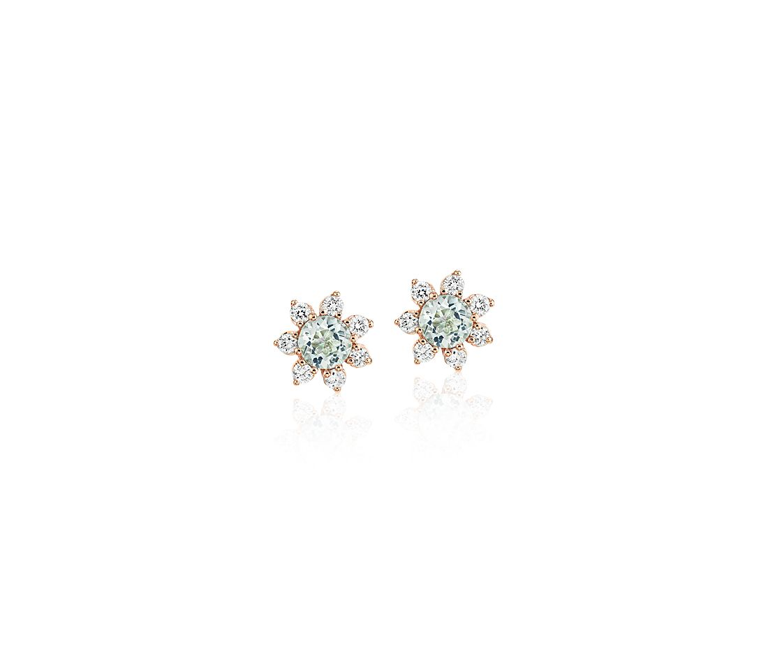 Mini Aquamarine Earrings with Diamond Blossom Halo in 14k Rose Gold (3.5mm)
