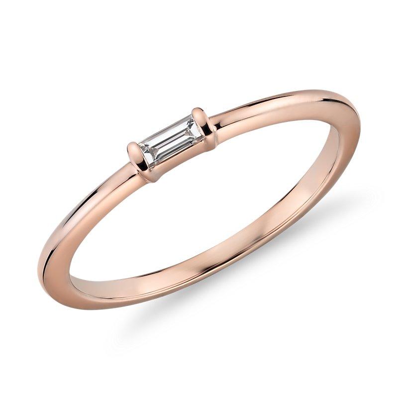 Mini Baguette-Cut Diamond Fashion Ring in 14k Rose Gold (1/10 ct.