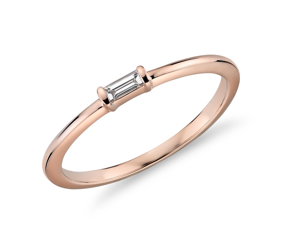 Mini Baguette-Cut Diamond Fashion Ring in 14k Rose Gold (1/10 ct. tw.)