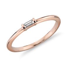 Mini Baguette-Cut Diamond Fashion Ring in 14k Rose Gold