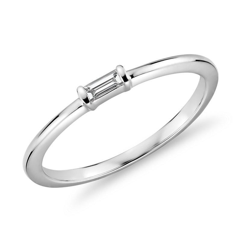 Mini Baguette-Cut Diamond Fashion Ring in 14k White Gold (1/10 ct