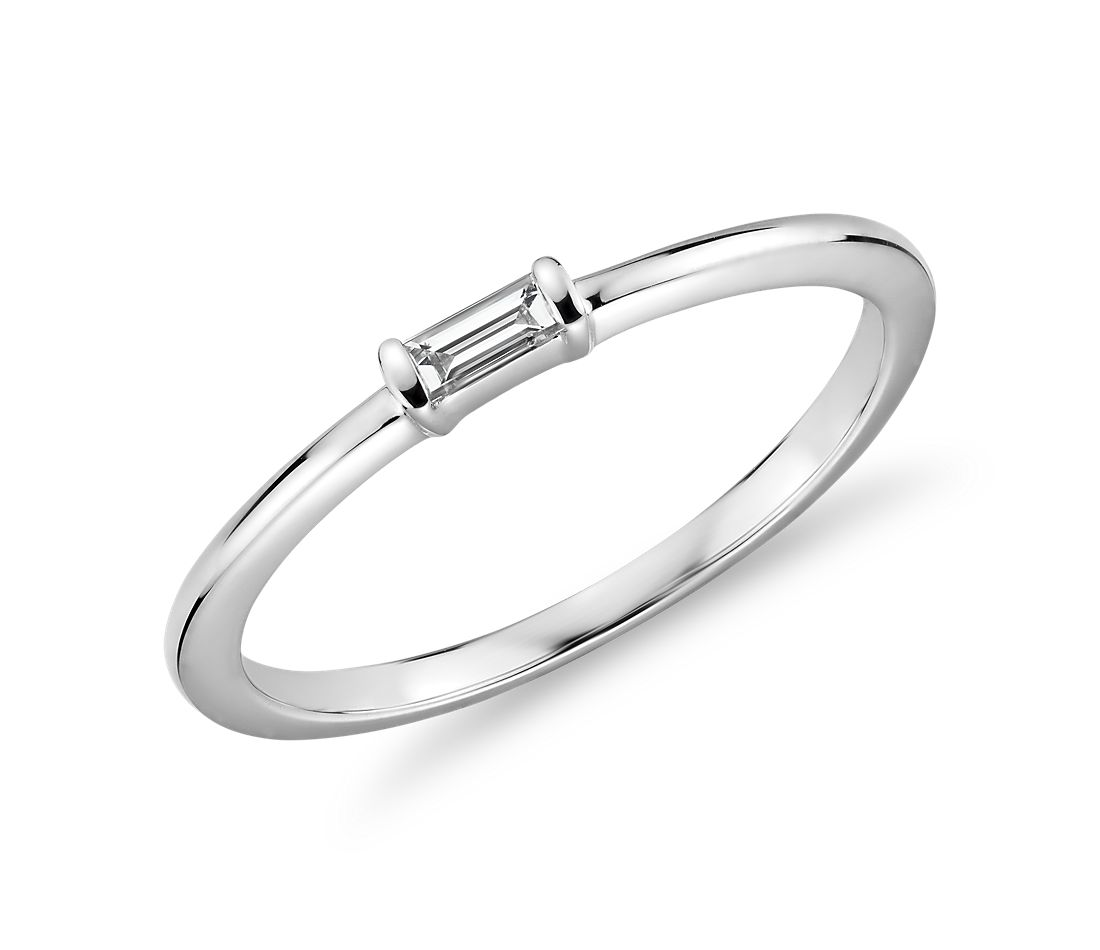 Mini Baguette-Cut Diamond Fashion Ring in 14k White Gold (1/10 ct. tw.)