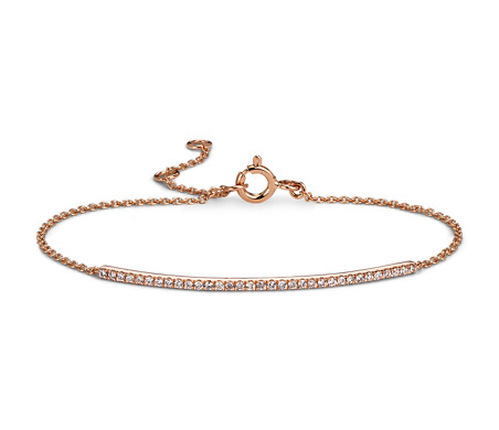 Diamond Bar Bracelet in 14k Rose Gold