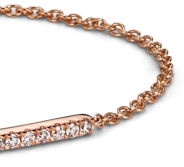 Delicado brazalete con barra de diamantes en oro rosado de 14k (1/5 qt. total)