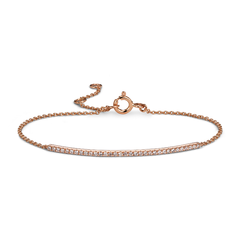 Delicate Diamond Bar Bracelet in 14k Rose Gold (1/5 ct. tw.)