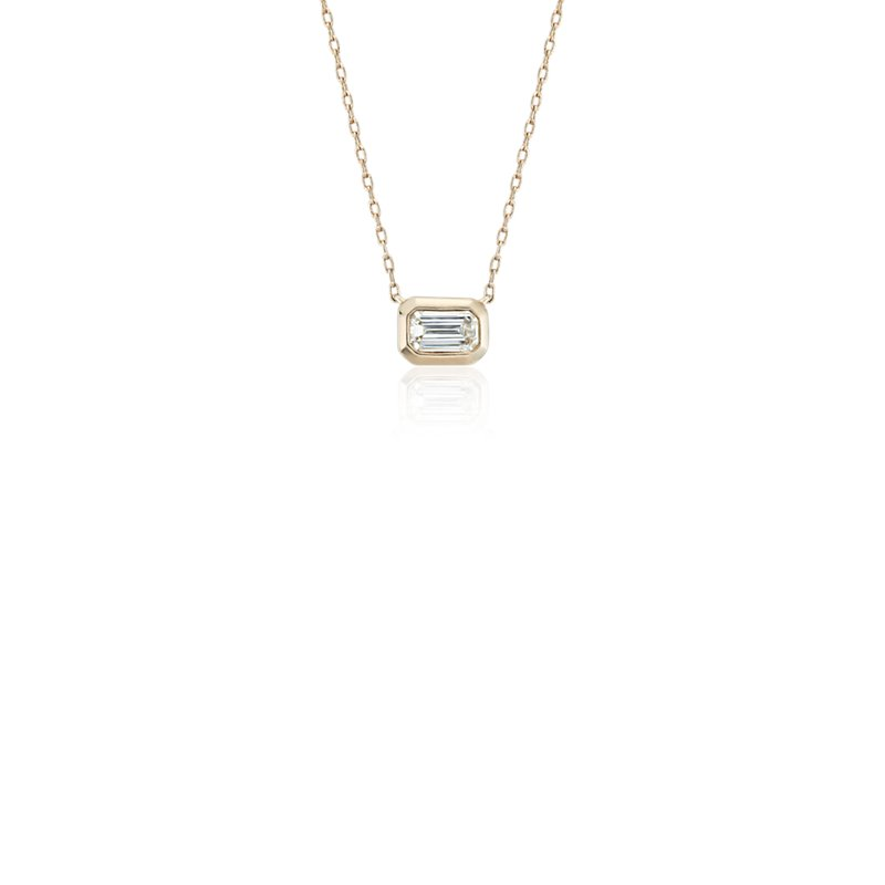 Mini Bezel-Set Emerald-Cut Diamond Pendant in 14k Yellow Gold (1/