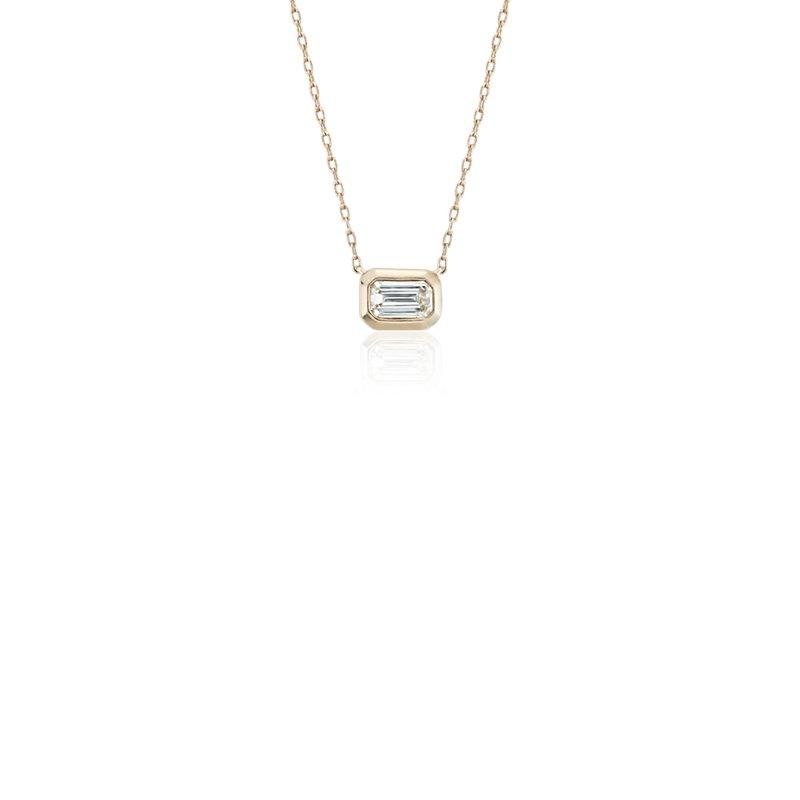 Mini Bezel-Set Emerald-Cut Diamond Pendant in 14k Yellow Gold (1/5 ct. tw.)