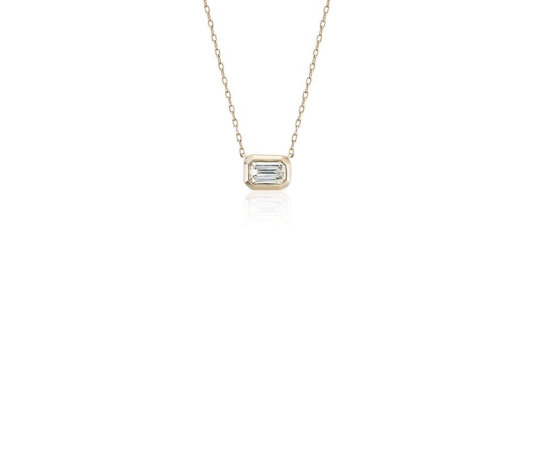 Mini Bezel-Set Emerald-Cut Diamond Pendant in 14k Yellow Gold (1/5 ct. tw.)