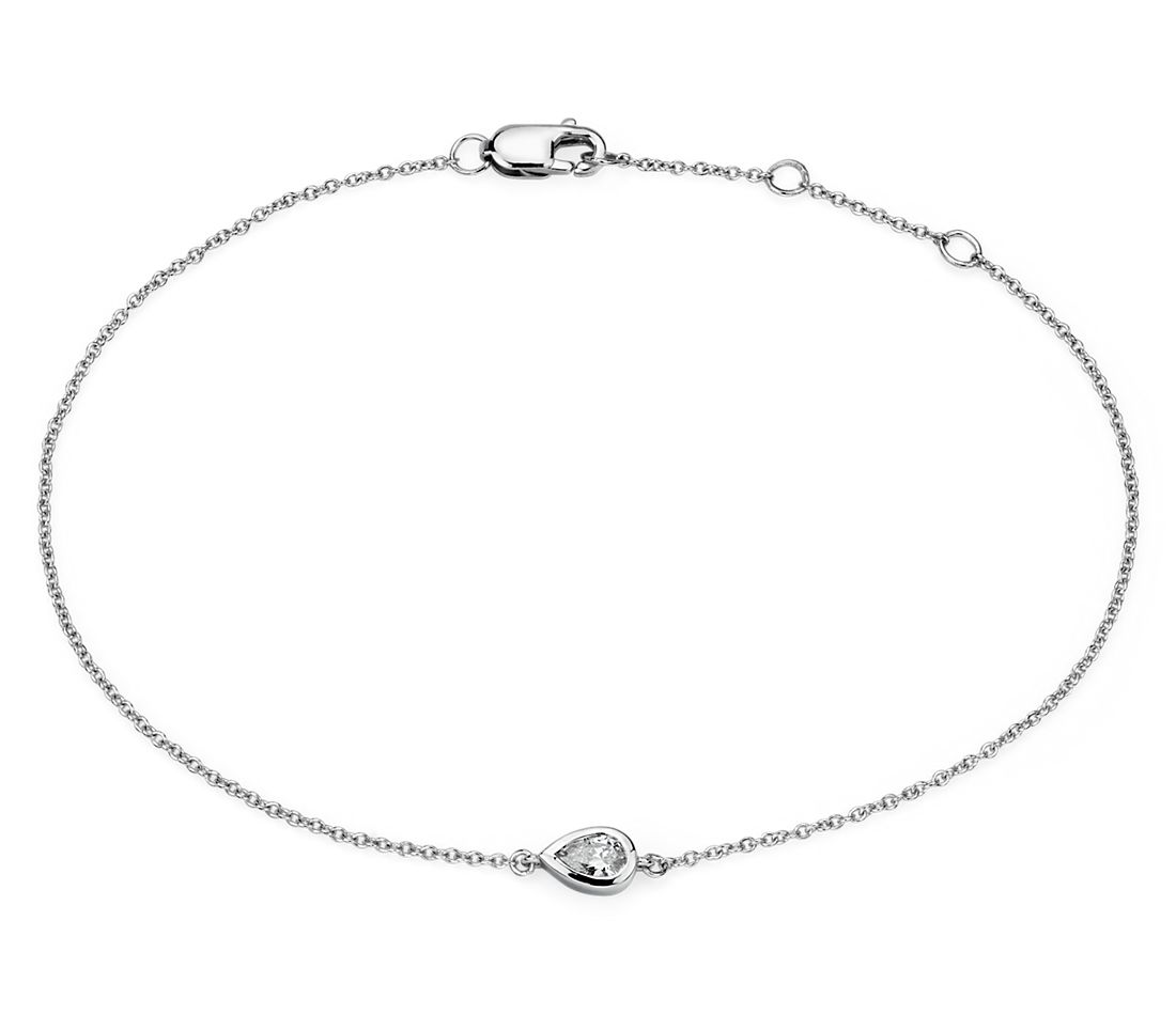 Mini Bezel Set Pear Cut Diamond Bracelet 14k white (1/6 ct. tw.)