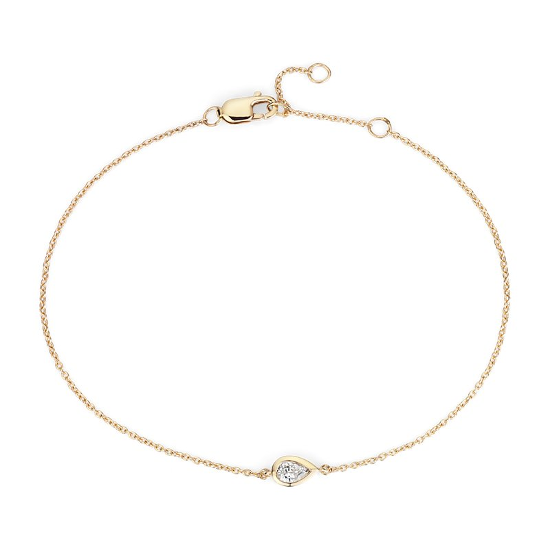 Mini Bezel Set Pear Cut Diamond Bracelet 14k yellow (1/6 ct. tw.)