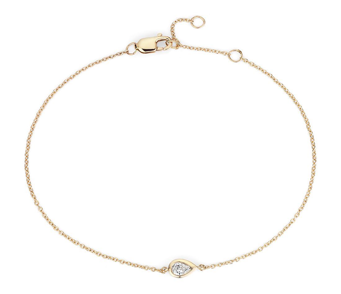 Mini Bezel Set Pear Cut Diamond Bracelet 14k Yellow Gold (1/6 ct. tw.)