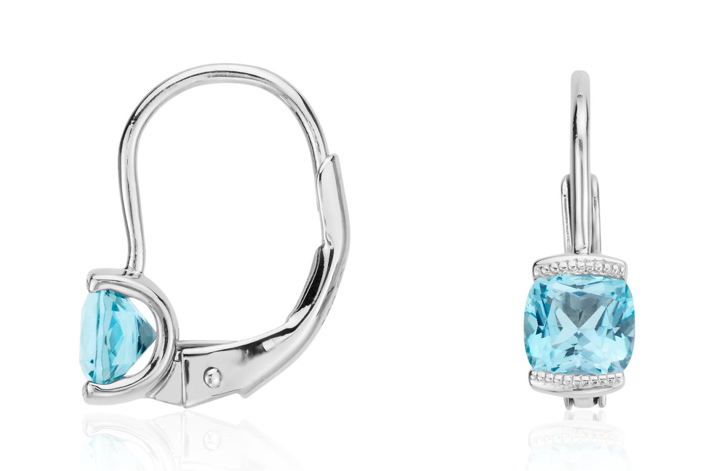 Petits pendants d'oreilles topaze bleue en argent sterling
