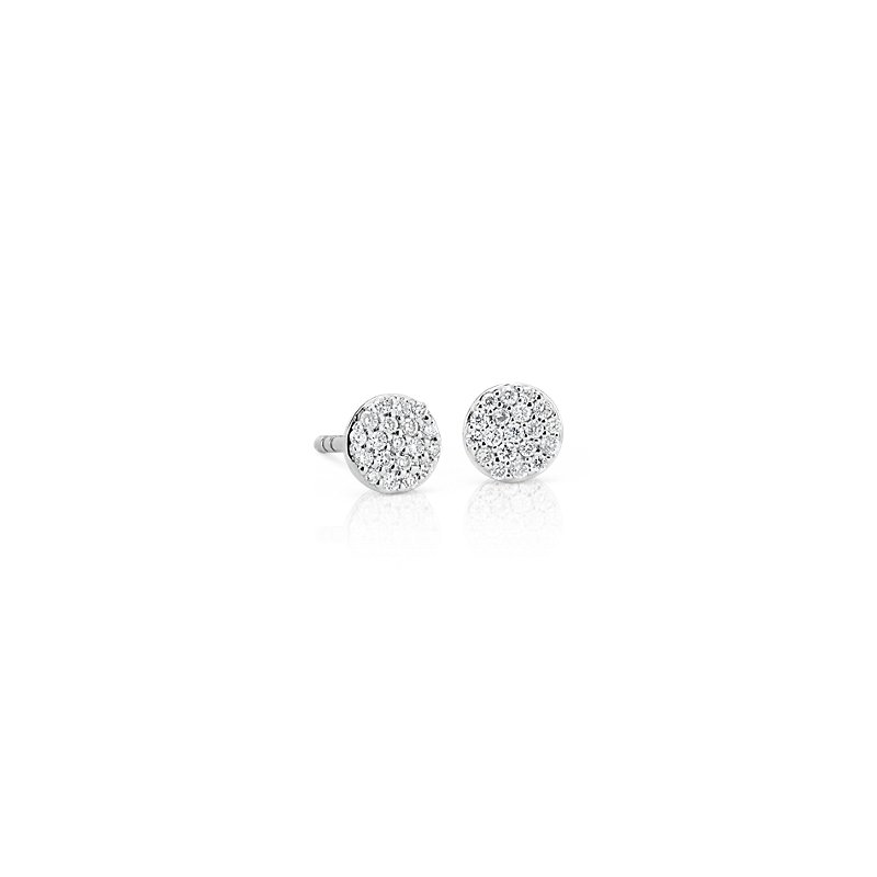 Mini Micropavé Diamond Button Earrings in 14k White Gold (