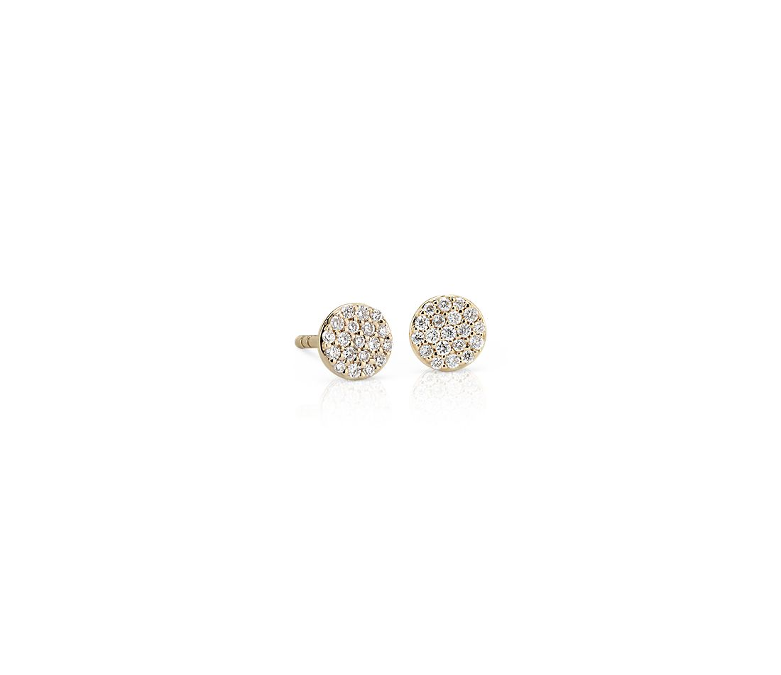 Mini Micropavé Diamond Button Earrings in 14k Yellow Gold (1/7 ct. tw.)