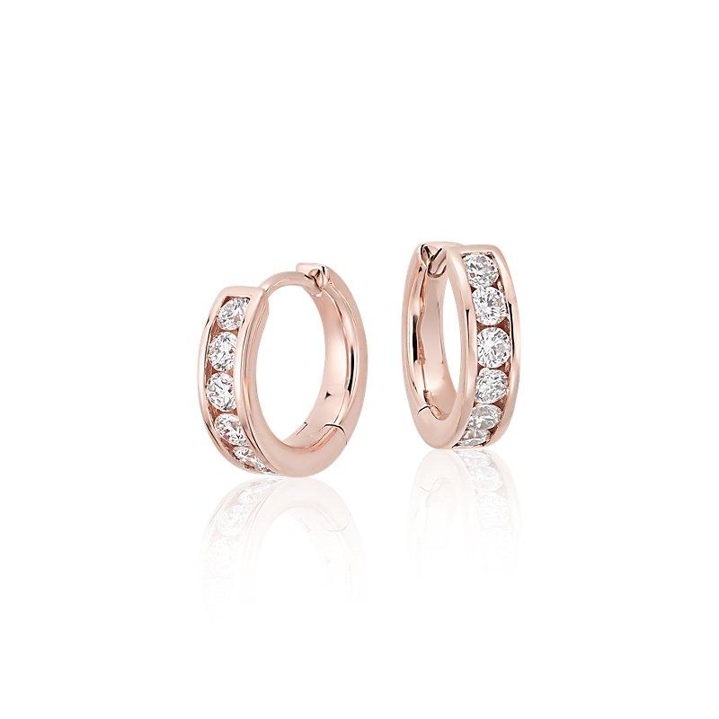Mini Channel-Set Hoop Earrings in 14k Rose Gold (1/2 ct. tw.)