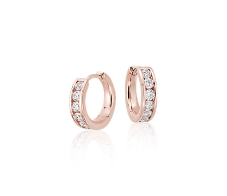 Mini Channel-Set Hoop Earrings in 14k Rose Gold (1/2 ct. tw.)
