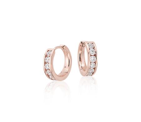 14k 玫瑰金 鑽石迫鑲圈形耳環<br>( 1/2 克拉總重量)