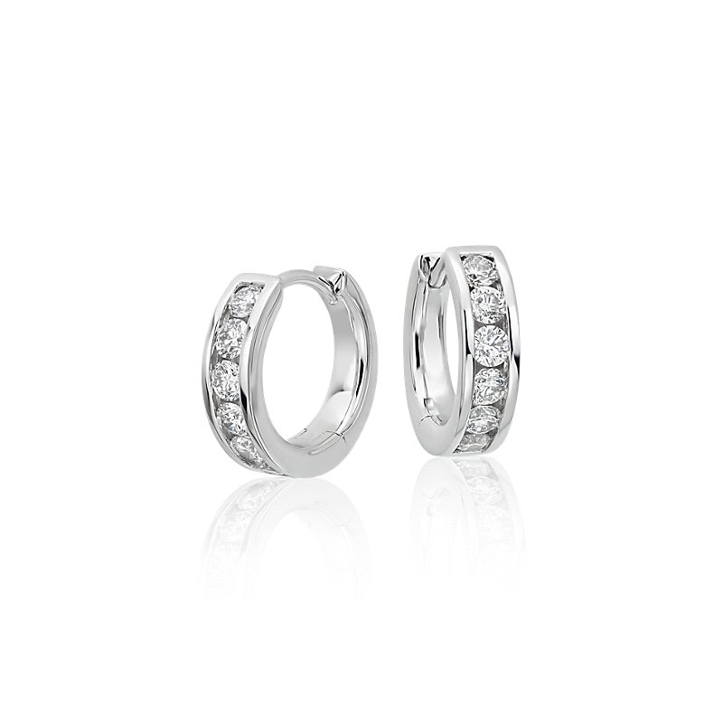 Mini Channel-Set Hoop Earrings in 14k White Gold (1/2 ct. tw.)