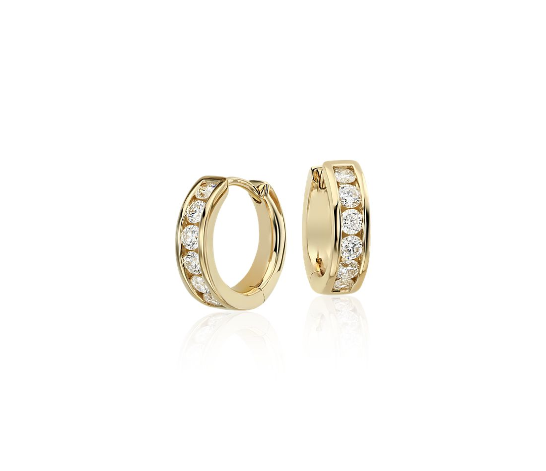 Mini Channel Set Hoop Earrings In 14k Yellow Gold 1 2 Ct