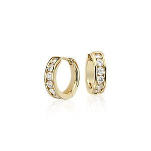 Mini Channel-Set Hoop Earrings in 14k Yellow Gold (1/2 ct. tw.)