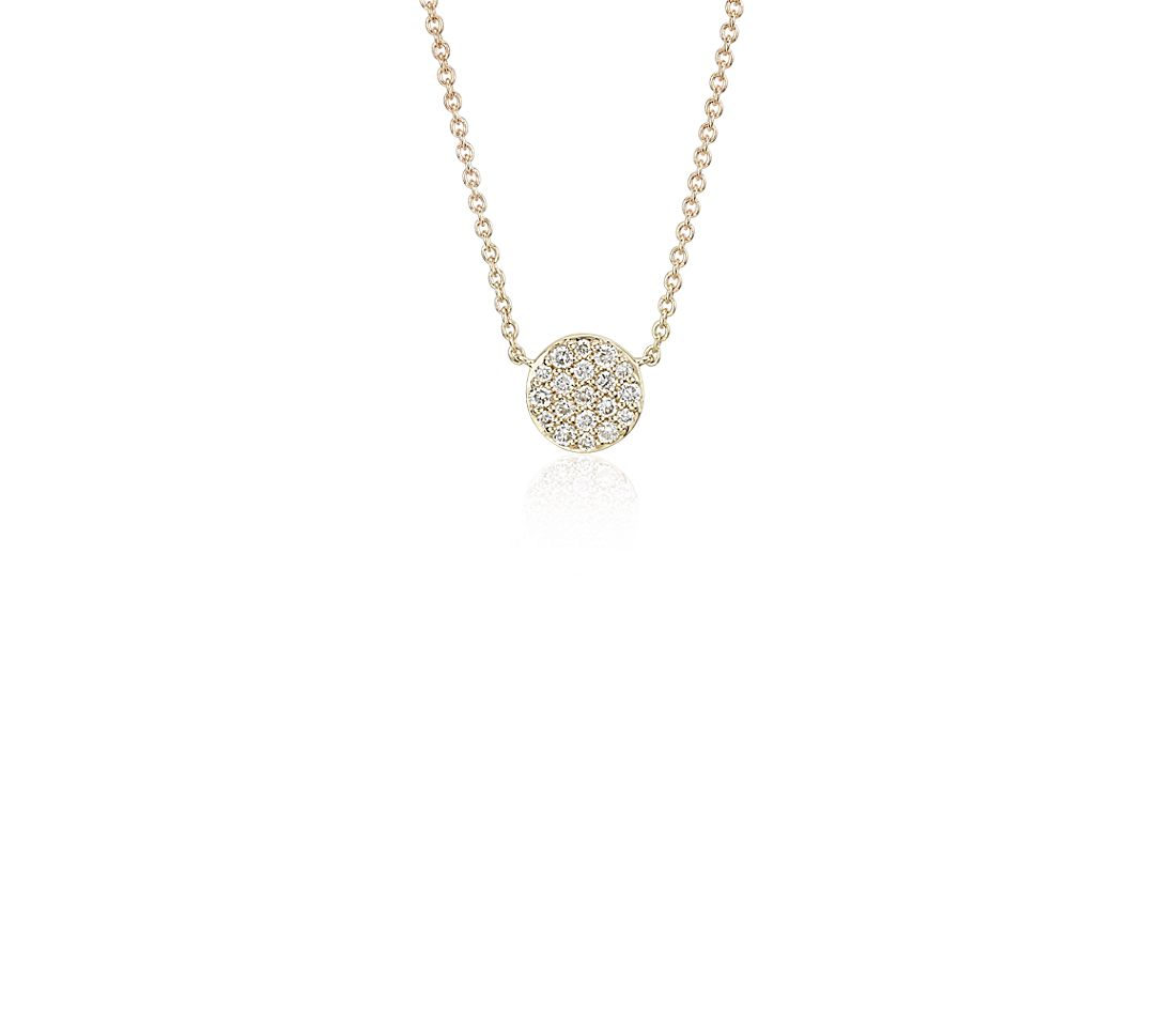 Mini Micropavé Button Diamond Necklace in 14k Yellow Gold (0.10 ct. tw.)