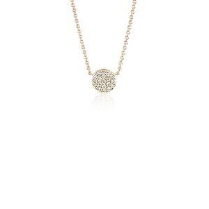 Mini Button Diamond Necklace in 14k Yellow Gold