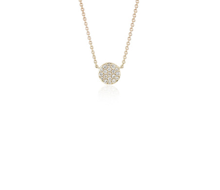 Mini Micropavé Button Diamond Necklace in 14k Yellow Gold (1/10 ct. tw.)