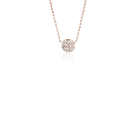 Mini Micropavé Button Diamond Necklace in 14k Rose Gold (1/10 ct. tw.)