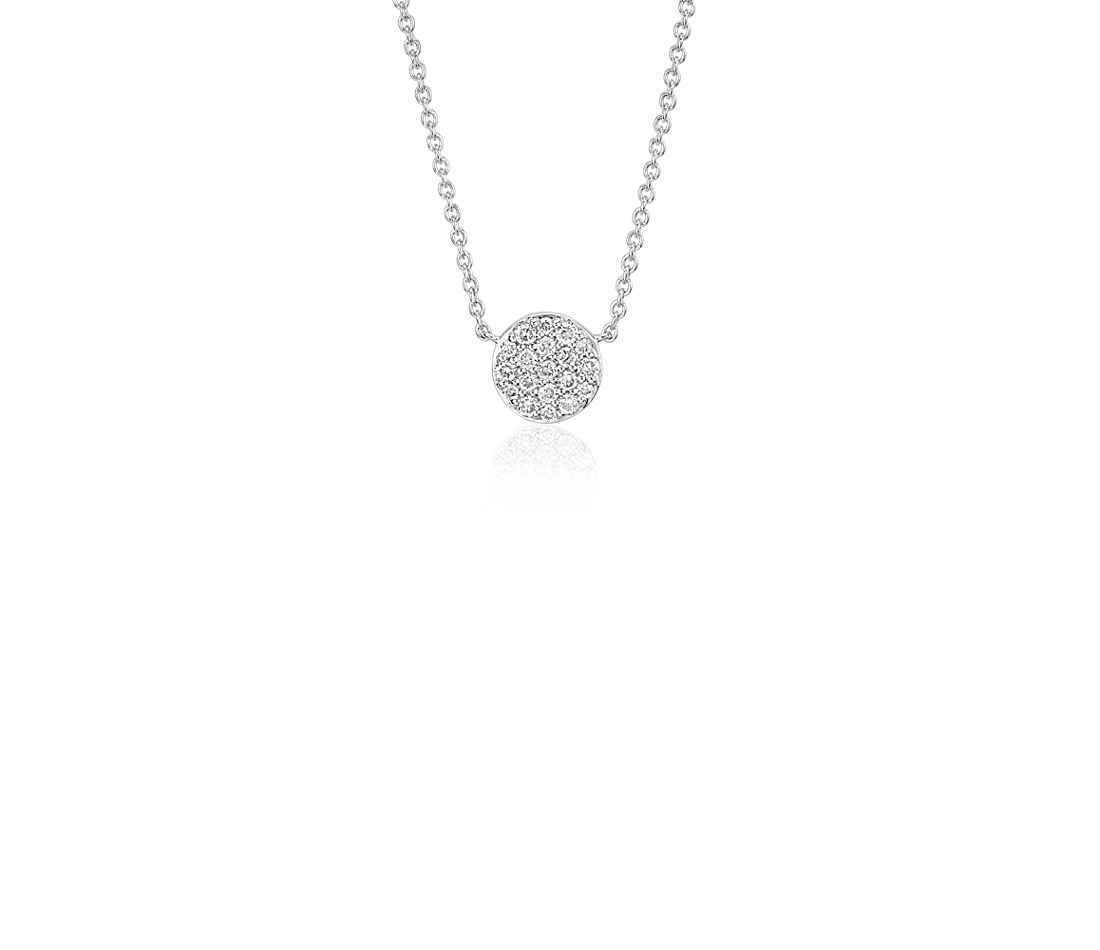 Mini Micropavé Button Diamond Necklace in 14k White Gold (1/10 ct. tw.)