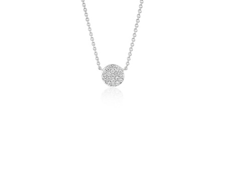 Collier en diamants sertis micro-pavé mini-bouton en or blanc 14 carats (1/10 carat, poids total)