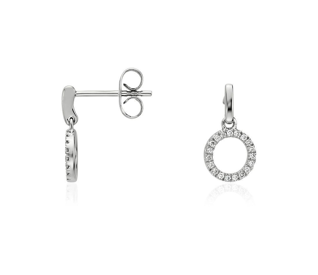 Mini Circle Drop Diamond Earrings In 14k White Gold
