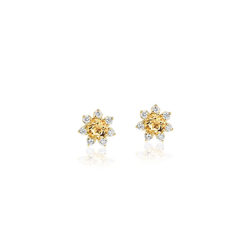 Mini Citrine Earrings with Diamond Blossom Halo in 14k Yellow Gol