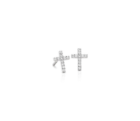 Aretes de diamantes pequeños en forma de cruz Oro blanco de 14 k (1/12 qt. total)