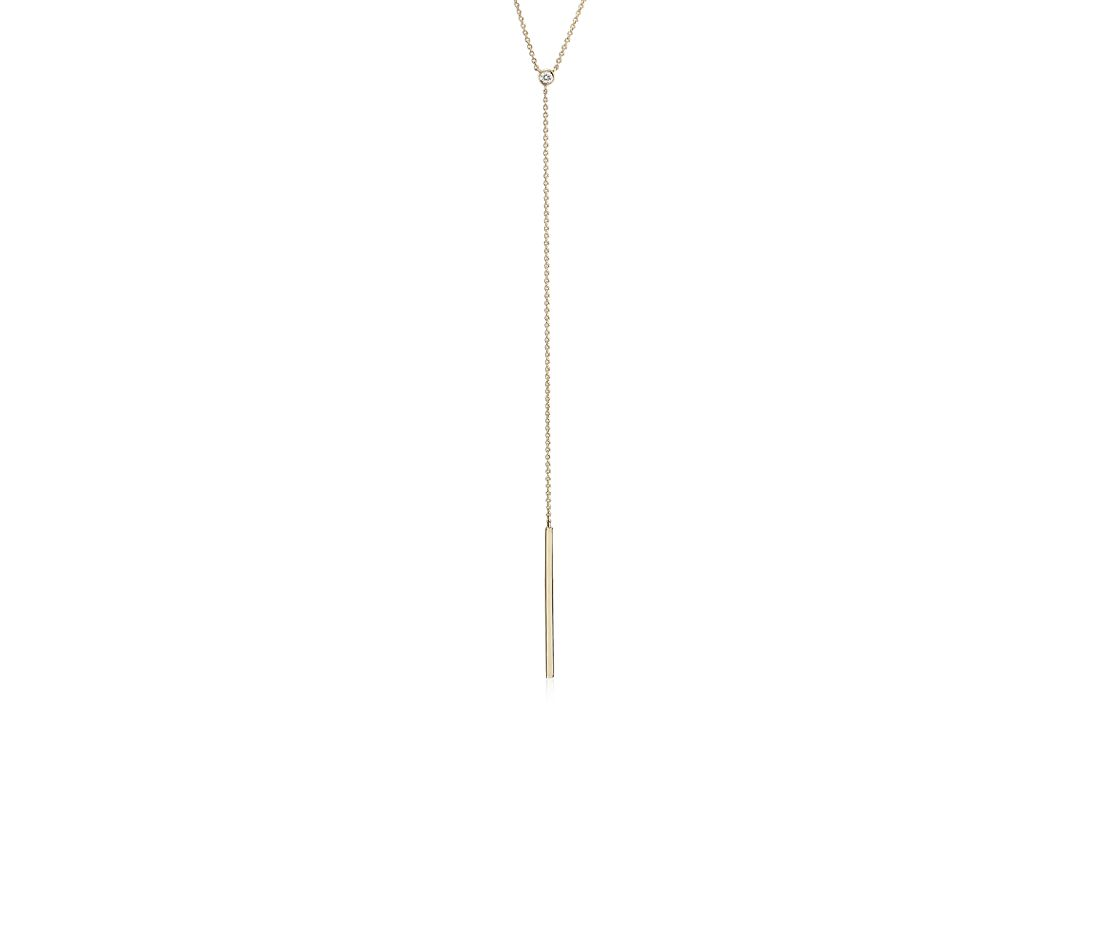 Mini Diamond Accent Bezel Y Necklace in 14k Yellow Gold