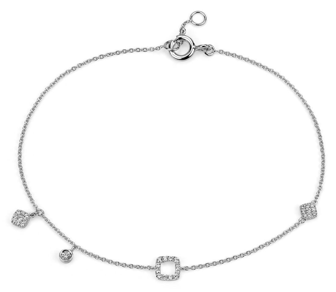 Mini Diamond Asymmetrical Bracelet in 14k White Gold (1/10 ct. tw.)
