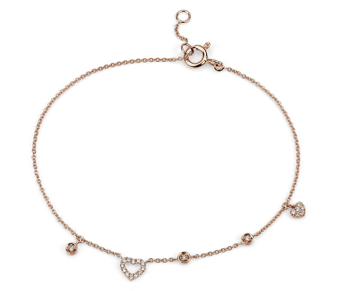 Mini Diamond Asymmetrical Heart Bracelet in 14k Rose Gold