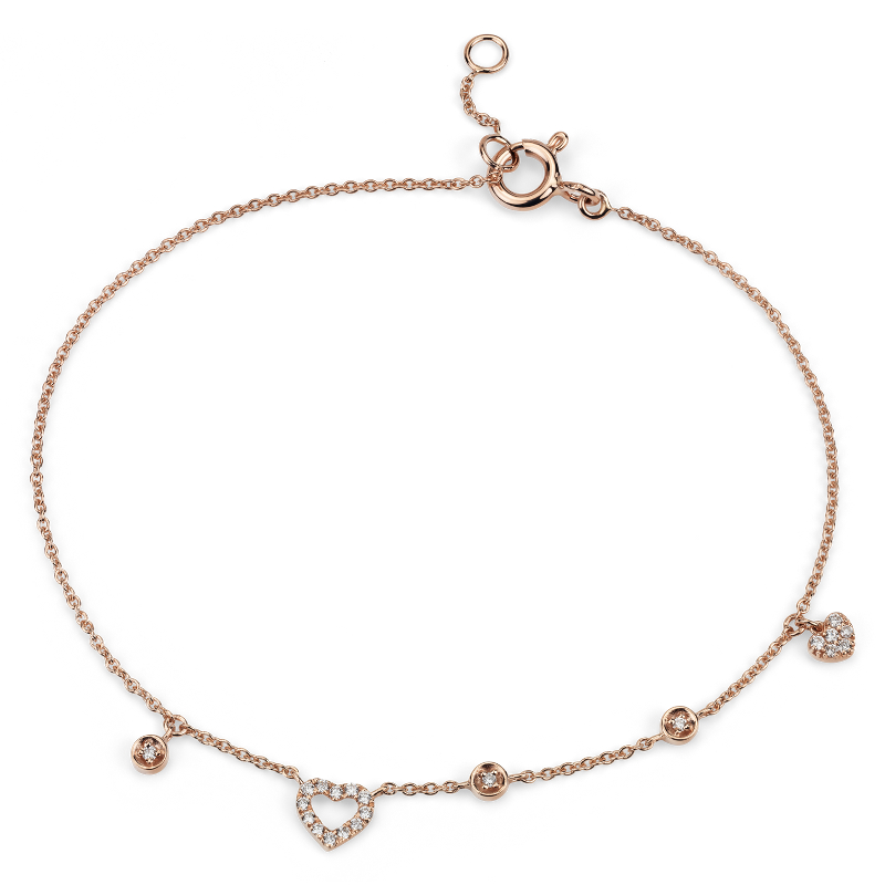 Mini Diamond Asymmetrical Heart Bracelet in 14k Rose Gold (1/10 c
