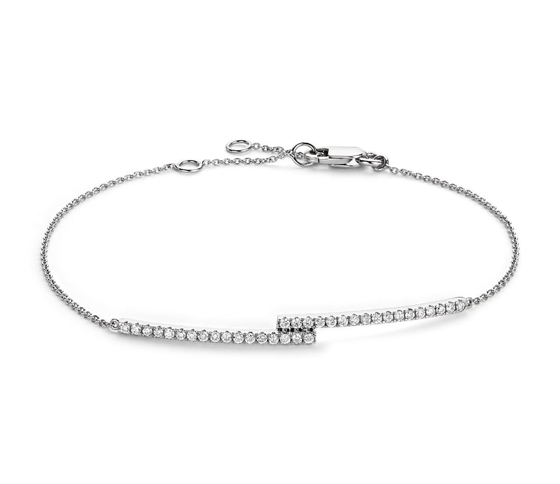 Diamond Bar Bracelet In 14k White Gold 1 4 Ct Tw