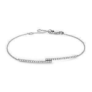 Bracelet en diamant serti barette en or blanc 14carats (1/4carat, poids total)