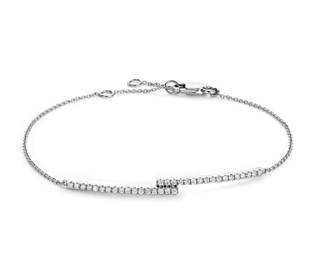 Blue Nile Diamond Station and Heart Bracelet in 14k Yellow Gold (1/4 ct. tw.)