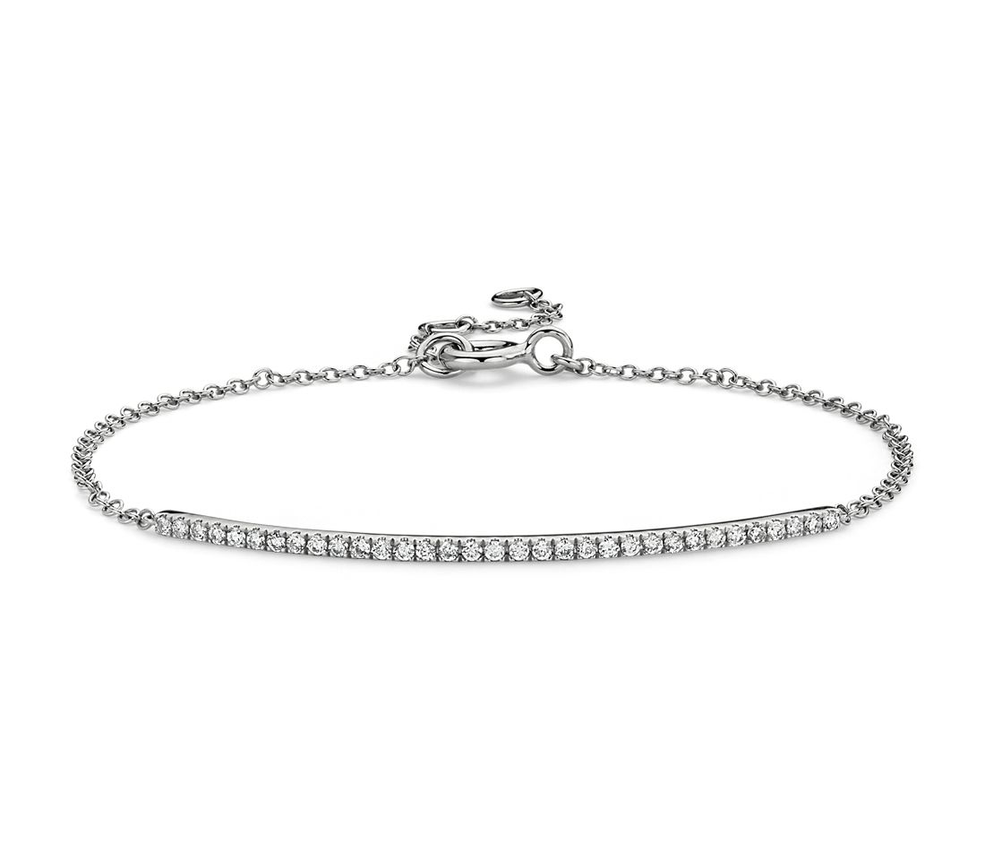 Delicate Diamond Bar Bracelet in 14k White Gold