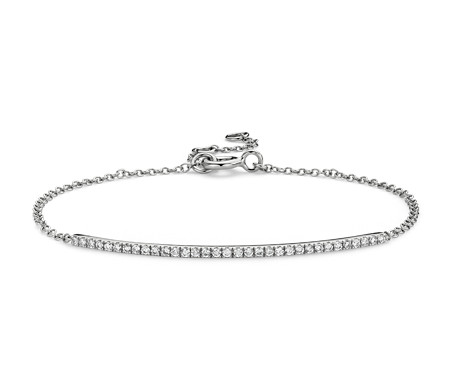 Delicate Diamond Bar Bracelet in 14k White Gold (1/5 ct. tw.)