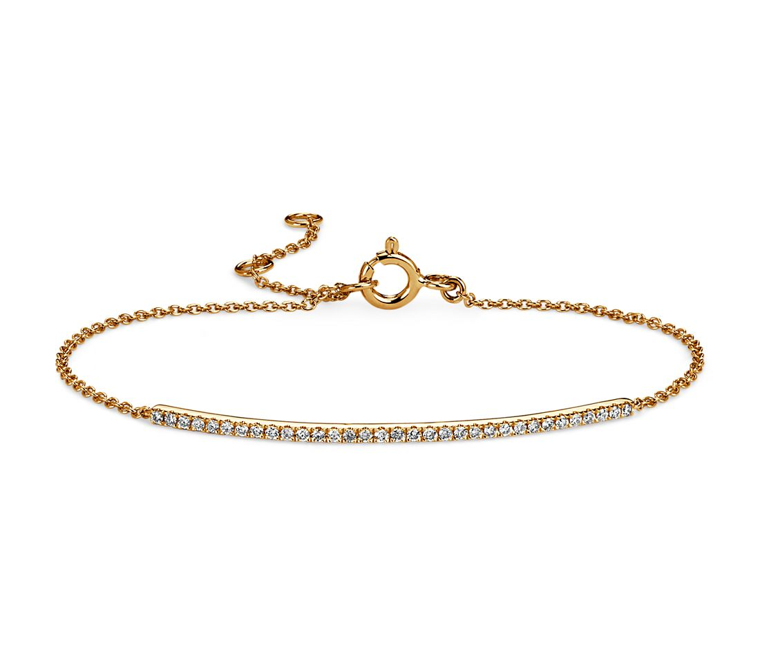 Delicate Diamond Bar Bracelet in 14k Yellow Gold