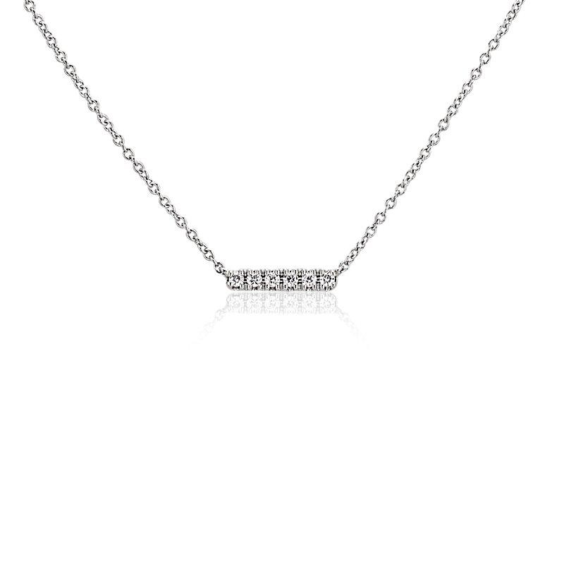 Mini Diamond Bar Necklace in 14k White Gold