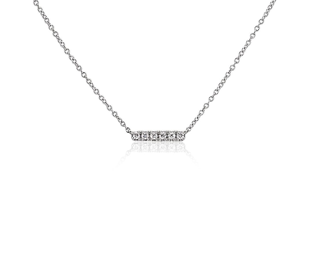 Mini Diamond Bar Necklace in 14k White Gold
