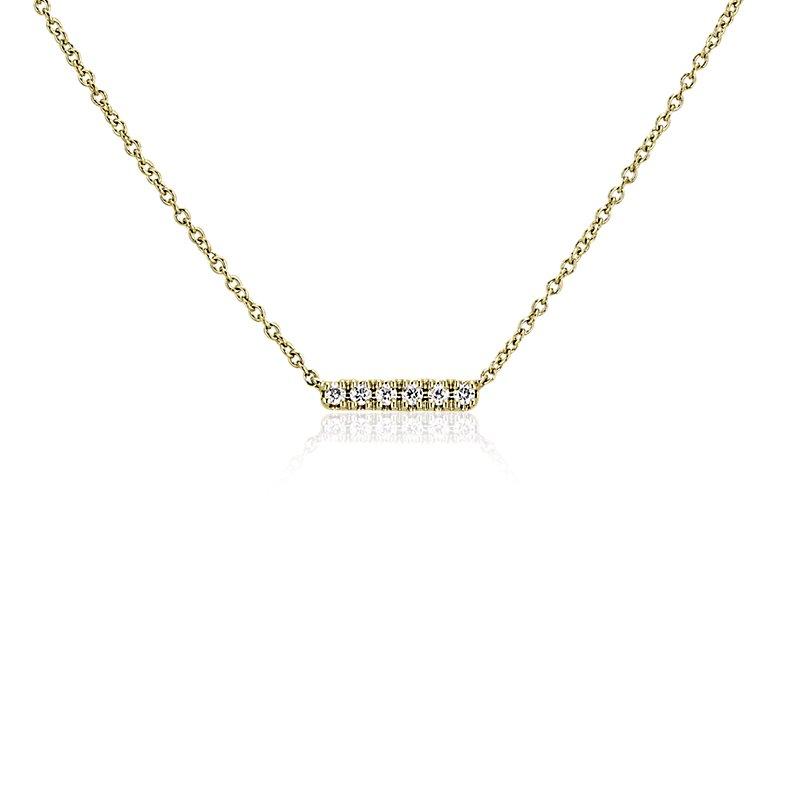 Mini Diamond Bar Necklace in 14k Yellow Gold
