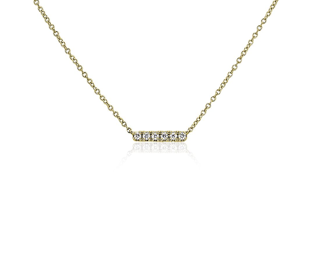 Petit collier barre en diamants en or jaune 14 carats