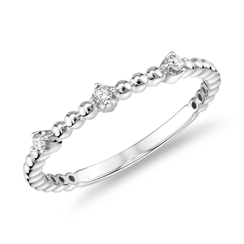 Mini Diamond Beaded Three Stackable Fashion Ring in 14k in White