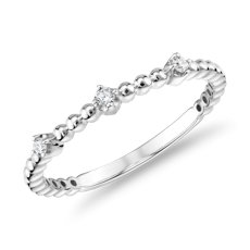 14k 和白金迷你鑽石串珠可層戴時尚戒指