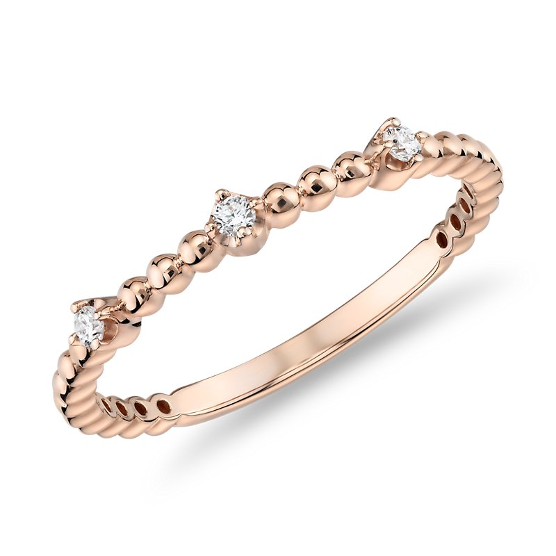 Mini Diamond Beaded Three Stackable Fashion Ring in 14k in Rose G